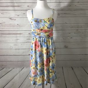 SOMA Knit Blue Floral Ruched Empire Waist Sundress